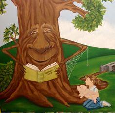 Charlotte' web mural Kyrene Elementary School reading books library mural