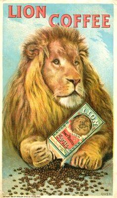 Michelle Vonparis saved to pub vintage Lion Coffee Trade Card. Vintage Labels, Vintage Ads, Vintage Posters, Vintage Logos, Lion Coffee, Coffee Art, Coffee Mugs, Nitro Coffee, Coffee Poster