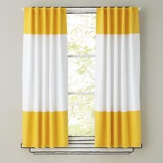 The Land of Nod | Kids Curtains: Yellow and White Curtain Panels in Curtains & Hardwares