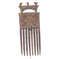 Unique Hand Made Akan Comb #1483 | Combs | Artifacts — Deco Art Africa - Decorative African Art - Ethnic Tribal Art - Art Deco