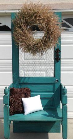 Repurposed old door and bedframe into hall tree bench! Facebook.com/mvredesign