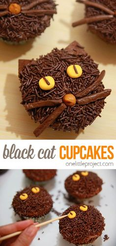 These non-spooky black cat cupcakes make a great Halloween treat! They take a bit of time to put together, but you don't need any fancy tools, and they're definitely easy enough for a beginner to make. They are fun, cute and make a great alternative (or addition) to witches and ghost themed Halloween treats! Halloween Treats, Halloween Party, Halloween Cupcakes, Halloween 2020, Fun Desserts, Dessert Recipes, Cat Cupcakes, Fall Recipes, Witches