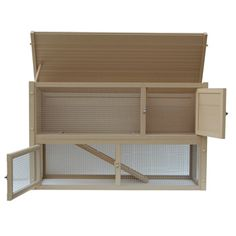 Two-story rabbit hutch with pen     Made from non-toxic recycled polymers and wood     Resistant to pests, rot, weather, and moisture     Easy to put together and clean     Removable roof allows for throrough sanitization     Perfect for both indoor and outdoor use