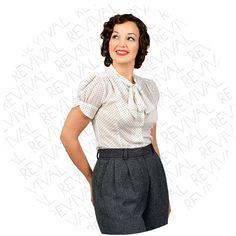 Clothing 1940s Blouse White Polka Dot