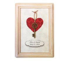 "Grant your loved one a romantic gesture. Bestow upon them the ""key to your heart"". Romantic, personalized gift for him or her. #Heart #FirstAnniversary by Dafna Yarom http://ygil76.wix.com/paper-drawings"