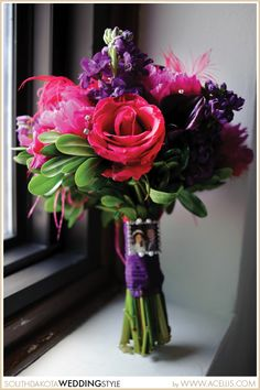 Wedding Bouquet Handle Idea | Purple and Pink