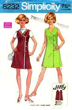 Simplicity 8232 Offset Button Dress or Jumper 1969