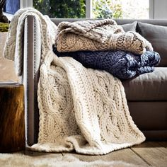 """Ugg Australia Oversized Knit Blanket, 50"""" x 70"""" ($345) ❤ liked on Polyvore featuring home, bed & bath, bedding, blankets, oatmeal, ugg australia, knit blanket, knit bedding, gray knit blanket and grey knit blanket"""
