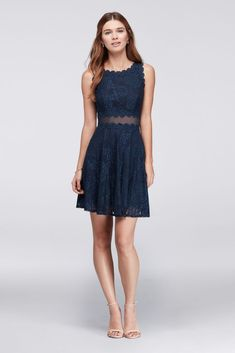 7fc088916cc Scalloped Lace A-Line Cocktail Dress - Navy (Blue)