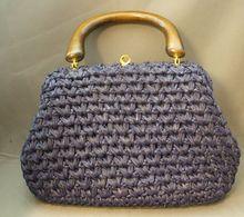 Navy Blue Raffia Handbag Made in Italy for Bloomingdale's