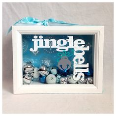 Blue & White Jingle Bell Shadow Box by BlocksPaperPaint on Etsy, $20.00
