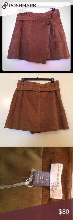 """NWT Suede Mini Skirt Adorable wrap skirt from Olivia Palermo collaboration with Chelsea. Rich brown suede, patch pockets, fully lined, connected wrap belt, three interior snap closures and subtle asymmetrical hem. 15"""". NWT purchased at Nordstrom. Nordstrom Skirts Mini"""