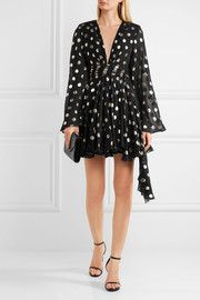 Saint LaurentAsymmetric polka-dot fil coupé silk-blend georgette wrap mini dress