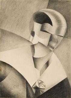 'Tête cubiste' (1917) by Belgian painter Marthe Donas (1885-1967). via B-sides