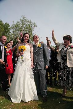 Confetti on the bride and groom