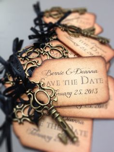 Custom Vintage Inspired Tags with Keys, save the date, RSVP, retirement party, baby shower, new home. This would be very easy to do!