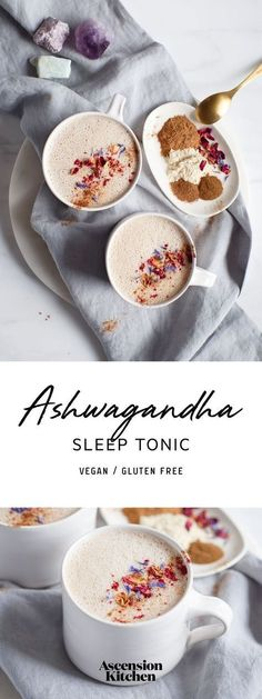 Ashwagandha Sleep Tonic – a modern take on the classic Ayurvedic recipe. Ashwagandha Sleep Tonic – a modern take on the classic Ayurvedic recipe. Plus, studies on ashwagandha's beneficial effects on stress, anxiety & insomnia. Yummy Drinks, Healthy Drinks, Healthy Eating, Healthy Recipes, Clean Eating, Tea Recipes, Smoothie Recipes, Cooking Recipes, Gastronomia
