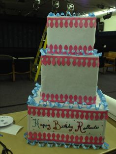 Cake Made Of Cardboard So The Kids Can Decorate A Giant Lightweight And Fun Butcher Paper Show Boxes Cut Out With Sizzix Ribbon Glue