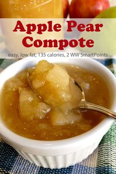 A simple pear and apple fruit compote lightly sweetened with honey and/or maple syrup - only 135 calories and 2 Weight Watchers Freestyle SmartPoints! Pear Recipes, Ww Recipes, Fruit Recipes, Easy Healthy Recipes, Apple Fruit, New Fruit, Apple Pear, Pear Compote, Fruit Compote