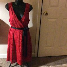 Cute Dress NWOT--Lace flare A-Line/Lining underneath Dress  with wrap from and tie belt-side zipper Dresses Midi