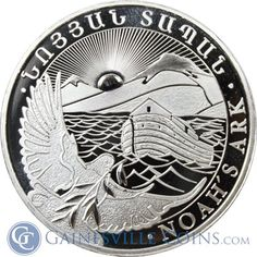 2013 1 oz Silver Armenia Noah's Ark Coin - 500 Drams Buy Silver Online, Buy Silver Bullion, Coin Design, Peace Dollar, Coin Art, Gold And Silver Coins, Bullion Coins, Silver Eagles, World Coins