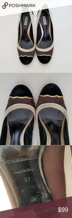 BURBERRY SILK PUMPS Authentic Burberry silk pumps good conditions check pics Feel Free to make me an Offer and It Will be yours Burberry Shoes Heels