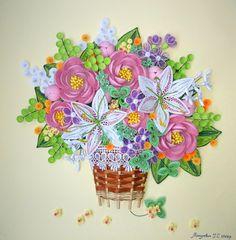 Quilling Kunst 3D Kunst Wandbild Bouquet des von QuillingLife
