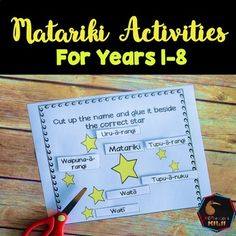 Matariki activities - REVISED 2016. Activities for students for years 1 - 8 in New Zealand Schools during the season of Matariki Maori New Year - Have a look at these worksheets, printables and activities: *********SAVE SAVE SAVE Get this as part of my Matariki bundle : Matariki Bundle*********5 Reading comprehensions Suitable for independent reading for Gold readers plus or suitable for shared reading.Songs Twinkle, twinkle little star in Maori and 'Nga Whetu o Matariki' , a song about…