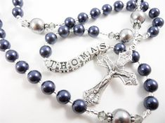 New! Personalized Rosary in Navy Blue and Medium Gray - Baptism, First Communion, or Confirmation for a Boy