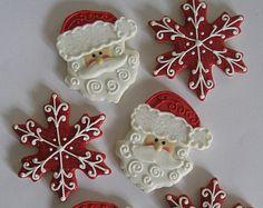 Santa Face & Snowflake Sugar Cookies, Christmas Cookies (1 dozen)