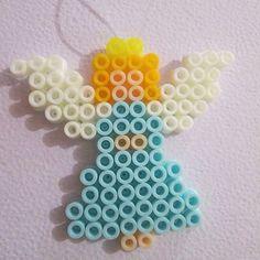Christmas angel hama beads by thisisgoretti Melty Bead Patterns, Pearler Bead Patterns, Perler Patterns, Beading Patterns, Hama Beads Design, Diy Perler Beads, Perler Bead Art, Christmas Perler Beads, Peler Beads