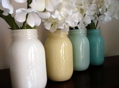 Image detail for -Crafts / Painted mason jar vases - -pour paint into clean mason jar ...