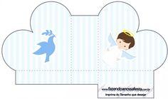 Caixa Coração Batizado Azul Claro