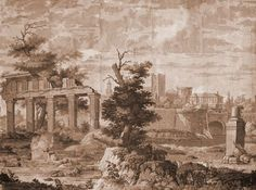 "Holly Alderman's ""Ruins of the Temple of Mars"" scene. Perfect for wallpaper, fabric or mirrors!"