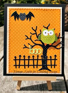 Project Ideas for Doodlebug Design - Haunted Manor Collection - Halloween - Adhesive Pearls - Mini Halloween Fall Cards, Holiday Cards, Owl Punch Cards, Cricut Cards, Cricut Halloween Cards, Handmade Halloween Cards, Halloween Clipart, Rena, Owl Card