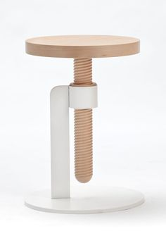 avvitamenti furniture collection by carlo contin for subalterno1 - designboom | architecture & design magazine: Screwed Tables, Design Magazines, Avvitamenti Furniture, Furniture Collection, Chairs, Furniture Design, Carlo Continents, Design Blog, Stools