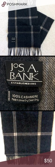 Jos. A. Bank 💯% Cashmere Scarf Men's (or women's, whose judging!) Jos. A. Bank 💯% Cashmere scarf. Black/gray with the slightest hint of gold. Gorgeous, classy, and in EUC!! Jos. A. Bank Accessories Scarves