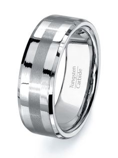 Tungsten Ring Mens Wedding Band, High Quality Tungsten Carbide Polished with Grooved Brushed Center on Etsy, $59.95