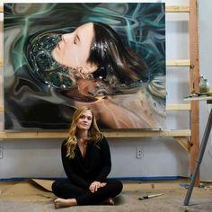 "Künstler: Reisha Perlmutter ""Fusion"" Öl auf Leinwand 50 ""x ""H . Hyper Realistic Paintings, Realistic Drawings, Art Drawings, Underwater Painting, Art Graphique, Art Plastique, Portrait Art, Portraits, Oeuvre D'art"