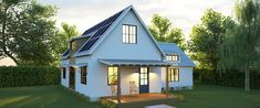 The new Solar Farmhouse contains everything the quintessential home possesses -- the quaint front porch, the white wood siding, the gabled roof, and the simple lines -- updated with a slew of net-zero features, including a passive solar design, air-tight building envelope, and open plan.