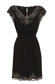Black Dress with Lace Applique Detail