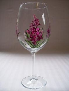 Wine glass-hand painted wine glass-painted Fireweed-large wine glass