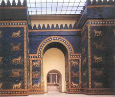 (Ishtar Gate from the walls of ancient Babylon, now in the Pergamon Museum ...