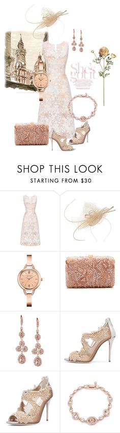 """""""Call Me a Lady"""" by ajakins ❤ liked on Polyvore featuring Suzanne Bettley, Caravelle by Bulova, Elie Saab, Givenchy, Oscar de la Renta, wedding, jewels, jacquard and fascinator"""