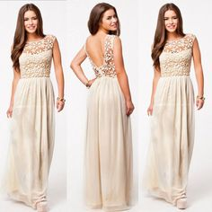 Womens Chiffon Evening Formal Party Ball Gown Prom Bridesmaid Long MAXI Dresses #OWNBRAND #Sundress #Cocktail