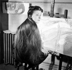 a young louise bourgeois with long locks