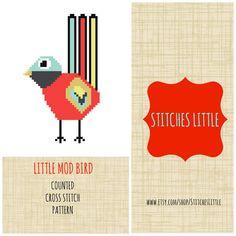 Retro Modern Cross Stitch Pattern - Scandi Cross Stitch - Ondori Cross Stitch - Little Mod Bird - PDF Pattern - Instant Download
