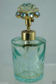 ANTIQUE/VINTAGE IRICE PERFUME BOTTLE BLUE CRACKLE GLASS,ROSE,RHINESTONE,ATOMIZER | eBay