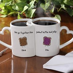 "OMG this is TOO CUTE! It's the ""We Go Together Like ..."" Personalized mug set ... you can pick from all their designs like Macaroni & Cheese, Milk & Cookies and more! This is a super cute Valentine's Day Gift idea that you can both actually use! LOVE that you can personalize each mug with your name and the heart-shaped handles are adorable, too! The set is only $24.95!"