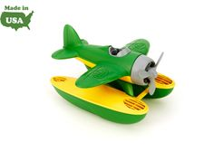 The Green Toys™ Seaplane is ready for earth-friendly excitement in the sky or out at sea. Made in the USA from 100% recycled plastic milk jugs that save energy and reduce greenhouse gas emissions, this buoyant yellow and green floatplane features a spinning propeller and chunky, oversized pontoons perfect for coasting into any port. Specially designed to float when taken into the bathtub or pool, young captains can easily navigate fr